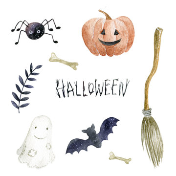 Watercolor illustration on the white background. Set of icons: pumpkin, spider, bat, ghost, broom, bone, branch. Hand-drawn illustration.