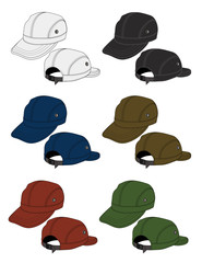 Illustration of baseball cap (headgear) / color variations