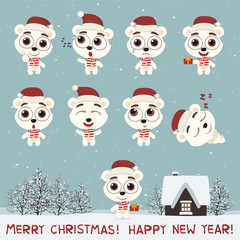 Merry Christmas and Happy New Year! Set funny polar bear in various poses for christmas decoration and design. Collection isolated polar bear in cartoon style.