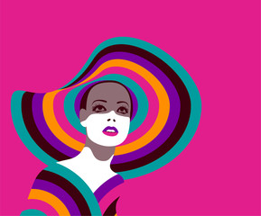 Portrait of fashionable woman with large hat in bright colors on pink background. Retro pop art style. Eps10 vector