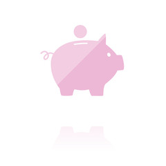 farbiges Symbol - Sparschwein seitlich