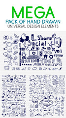 Vector mega collection of hand drawn business, economy and social elements