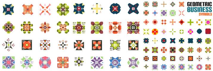 Set of ornamental geometric flowers
