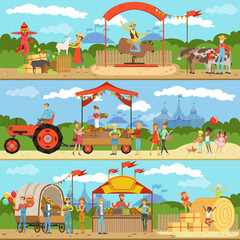 Agriculture and farming horizontal banners set, natural food farmer products, gardening, rural landscape