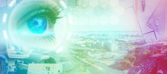 Composite image of blue eye on female face