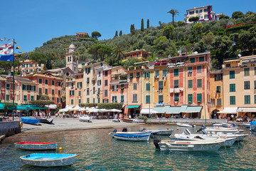 Portofino beautiful village with colorful houses in Italy in a clear sunny summer day