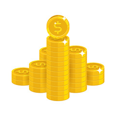 Mountain gold dollars isolated cartoon icon. Bunches of gold dollars and dollar signs for designers and illustrators. Gold stacks of pieces in the form of a vector illustration