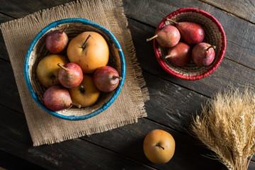 Organic Pears in Wicker Basket