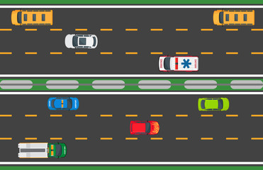 City Traffic Vector Concept with Cars On Highway