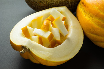 Organic fresh yellow melon slices on black background.