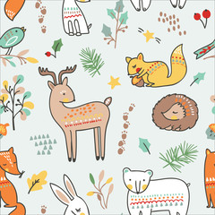 Cute animalistic seamless pattern. Vector illustration. with fox, bear, rabbit, hedgehog, elk, deer, squirell and a little bird in a forest.