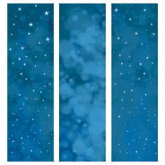 Vector starry  night sky  banners.