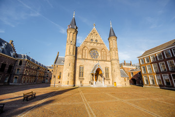 Sunset view on the inner court of Binnenhof with Hall of Knights in the centre of Haag city in Netherlands