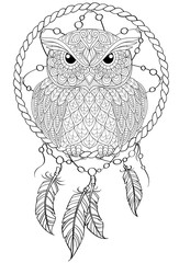 Dream catcher with owl. Tattoo or adult antistress coloring page. Black and white hand drawn doodle for coloring book