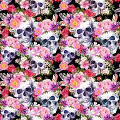 Human skulls, flowers. Seamless pattern. Watercolor