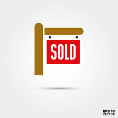 Real Estate sold sign vector icon