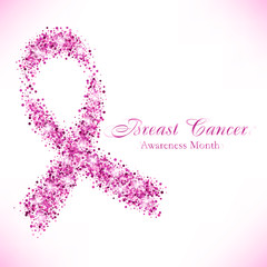 Shape of pink ribbon from shiny glitter on white background. National Breast Cancer Awareness Month. Vector illustration