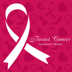 Shape of cancer ribbon on dark pink background with women s accessories. National Breast Cancer Awareness Month. Vector illustration