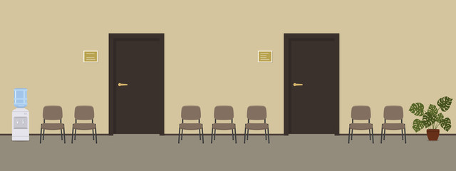 Waiting hall in a beige color. Corridor. There are brown chairs, a water cooler, a big flower near the door in the picture. Vector flat illustration.