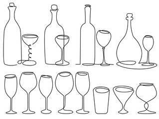 Wine glass one line drawing