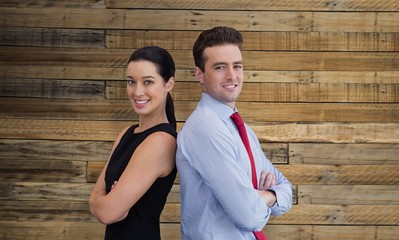 Composite image of portrait of business man and business woman