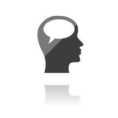 farbiges Symbol - Sprechblase im Kopf