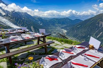 Mountain restaurant overlooking Chamonix Wall mural