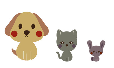Dogs and cats and rabbits cartoon