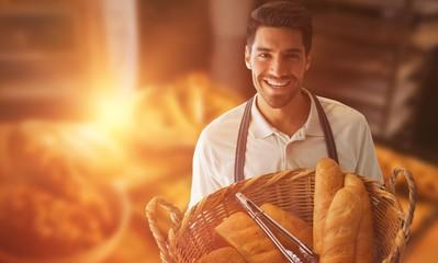 Composite image of baker holding bread in whisker basket