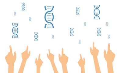 Hände zeigen auf DNA-Stränge