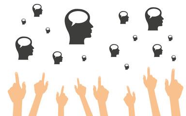 Hände zeigen auf Köpfe im Profil mit Sprechblasen
