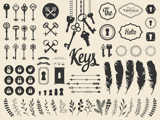 Vector illustration with design illustrations for decoration. Big silhouettes set of keys, locks, wreaths, illustrations, branch, arrows, feathers on white background. Vintage style. Wall mural
