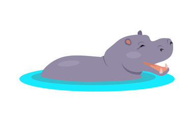 Hippo Cartoon Icon in Flat Design