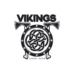 vector vikings icon logo template design simple flat isolated illustration on a white background. Axes and shield with pattern image