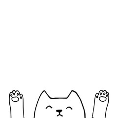 Cute vector cat face with paws, hand drawn outlines illustration