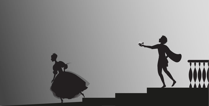 Cinderella runs out from ball and looses her shoe,