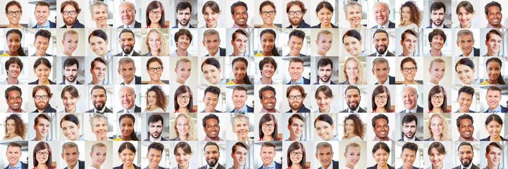 Viele Geschäftsleute Porträts als multikulturelles Team Wall mural