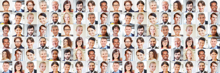 Viele Geschäftsleute Porträts als multikulturelles Team Fototapete