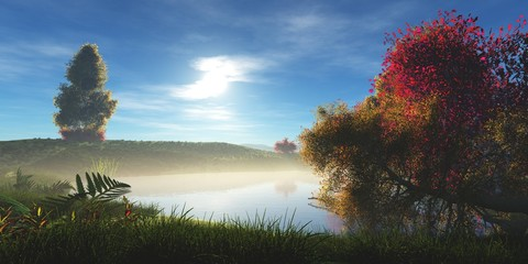 Autumn morning over the water, autumn trees in the fog, 3d rendering