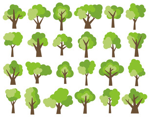 Set of twenty four different cartoon green trees isolated on white background. Vector illustration