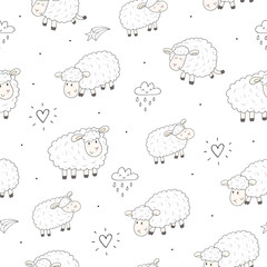 Cute seamless pattern with funny sheep. vector illustration