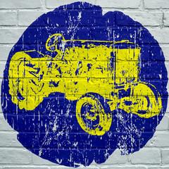 Street art. Tracteur agricole grunge