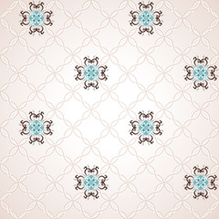 Vector seamless background. Beautiful floral pattern in vintage style and simple delicate ornament.