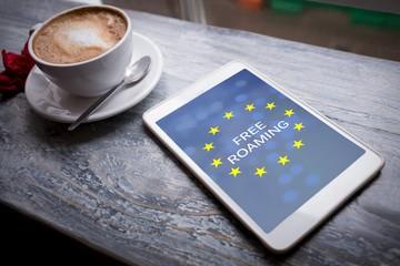 Composite image of free roaming text on european union flag