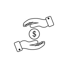 Money coin in two hands icon. Save money vector outline illustration