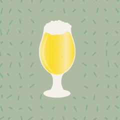Beer glass isolated. Vector icon with alcoholic beverages. Wheat beer, lager, craft beer, ale.