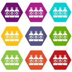 Printer ink bottles icon set color hexahedron
