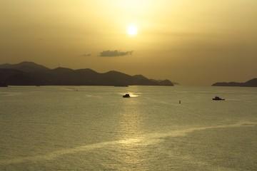 sunrise sunset over distant islands in the USVI, Virgin Islands, Caribbean