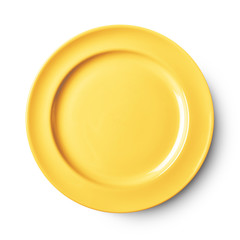Simple white circular plate with clipping path