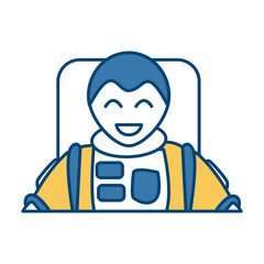 Cute astronaut cartoon icon vector illustration graphic design
